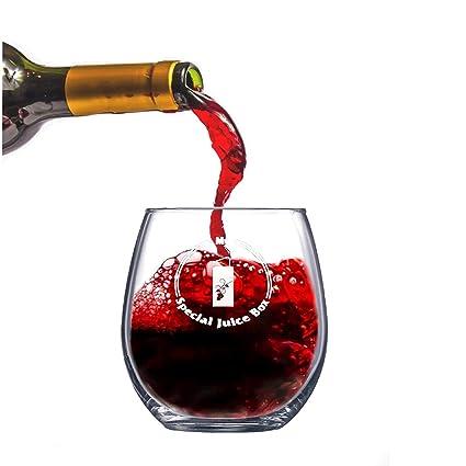 amazon com 15 oz stemless wine glass my special juice box