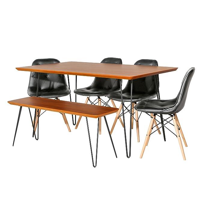Amazon.com: Nos muebles az60hppuwt-6 Juego de comedor de ...