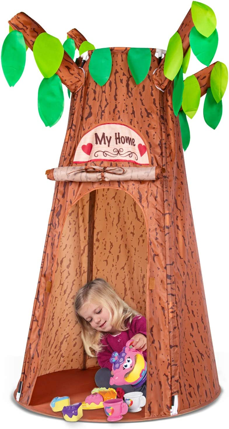 Kids Play Tents, Forest Hollow Tree House for Girls and Boys, Easy Folding Indoor Outdoor Pretend Play Game Props, Pop Up Play Tent w/ Carrying Bag, Ideal for Children Ages 3 Years & Up