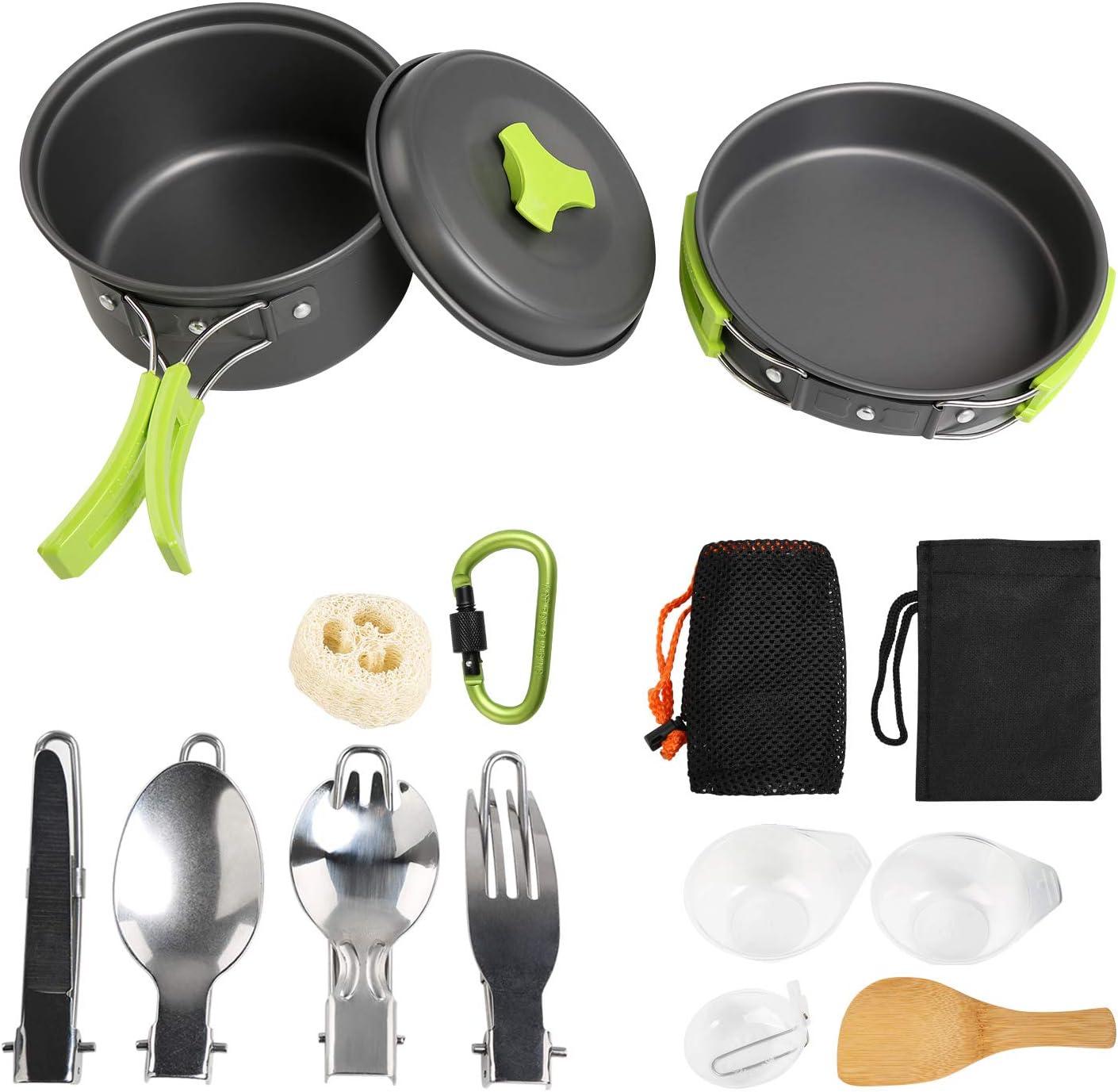 Ballery Kit de Utensilios de Cocina para Acampar, Mini Kit de Utensilios de Cocina, 15 Piezas Mini Kit de Acampar de Cocinar para 1-4 Personas Mochilero, Camping al Aire Libre Senderismo y