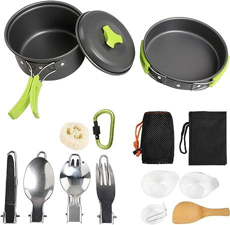 Ballery Kit de Utensilios de Cocina para Acampar, Mini Kit de Utensilios de Cocina, 15 Piezas Mini Kit de Acampar de Cocinar para 1-4 Personas ...