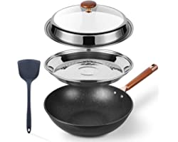 Kseroo Woks and Stir Fry Pans for Electric Stove, Nonstick Frying Pan, Wok Pan with Lid, Deep Large Induction Hard Anodized F