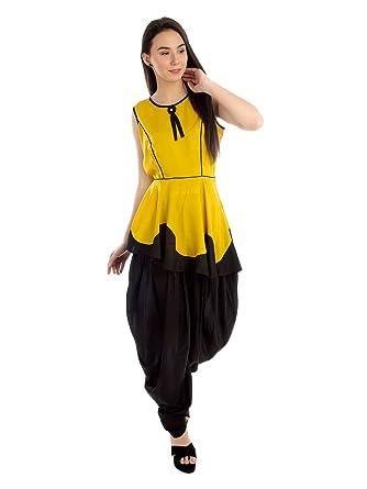 31249f1a0dd0 PATRORNA Women's A-Line Peplum Top and Black Dhoti Maternity Dresses in  Mustard Black (