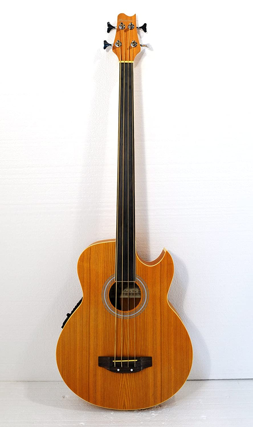Fretless 4 String Acoustic Electric Cutaway Bass Guitar, Light-Brown Satin Finish, with a padded gig bag Jisheng 090/66MQ-4-Y
