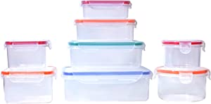 8pcs Food Storage Containers with Lids @ Airtight Leak Proof Easy Snap Lock and BPA-Free Plastic Container Set @ Plastic Food Containers with Lids @ Plastic Containers with Lids (Multi-Color)