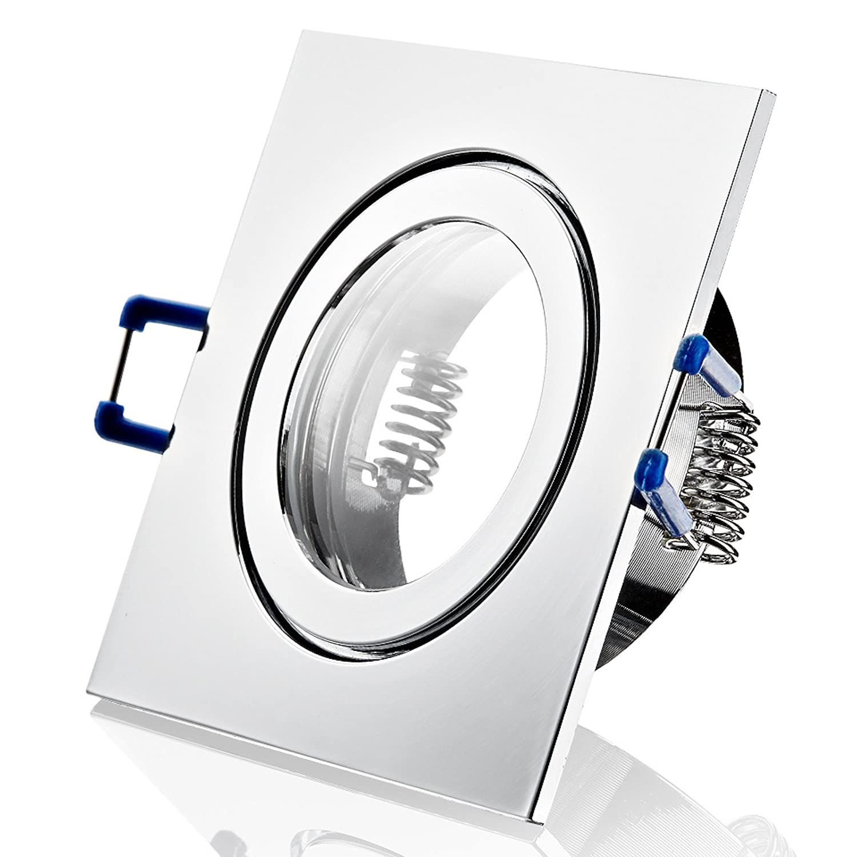 9 Stück IP44 Bad Einbaustrahler Neptun 230 Volt Eckig Ohne Leuchtmittel Farbe  Chrom glänzend
