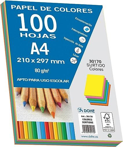 Dohe 30170 - Pack de 100 papeles A4, 80 g., multicolor intenso ...