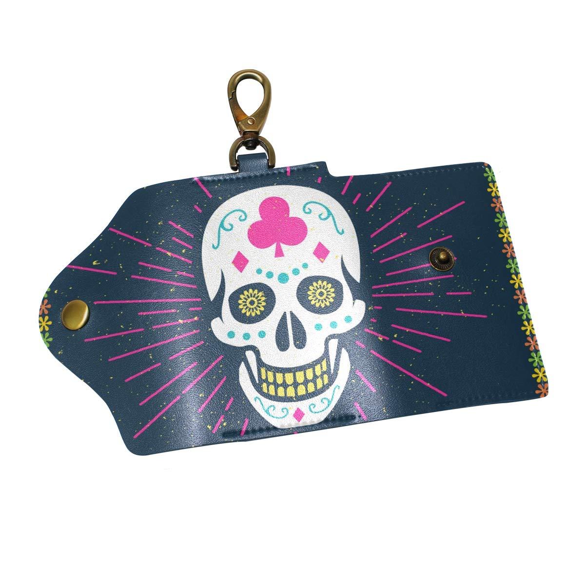 KEAKIA Sugar Skull Leather Key Case Wallets Tri-fold Key Holder Keychains with 6 Hooks 2 Slot Snap Closure for Men Women