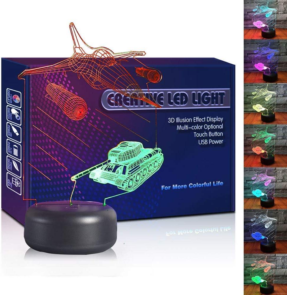 HIPIYA Warplane Tank LED 3D Illusion USB Night Light Combat Aircraft Lamp Festival Present Birthday Gift for Boy Men Kid Army Soldier War Bedroom Decoration Room Decor (Warplane Tank)