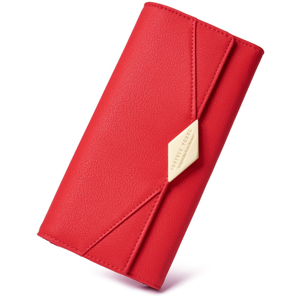 Women Wallet Soft Leather Designer Trifold Multi Card Organizer Lady Clutch red