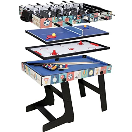 QYBK Deluxe 4 In 1 Folding Top Game Table Multi Function Steady Combo Table  Tennis