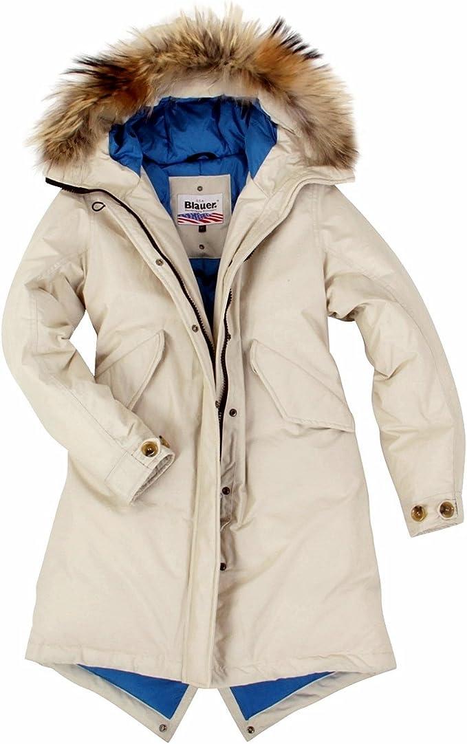 Blauer USA Damen Daunenmantel Parka Daunen Mantel Jacke Winter Jacke, Daunenparka mit Echt Fell Kapuze, in der Größe: Gr.L (4446)