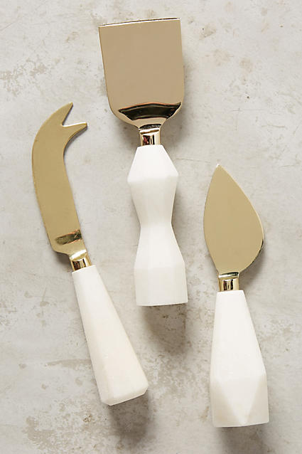 Faceted Marble Cheese Knives - anthropologie.com
