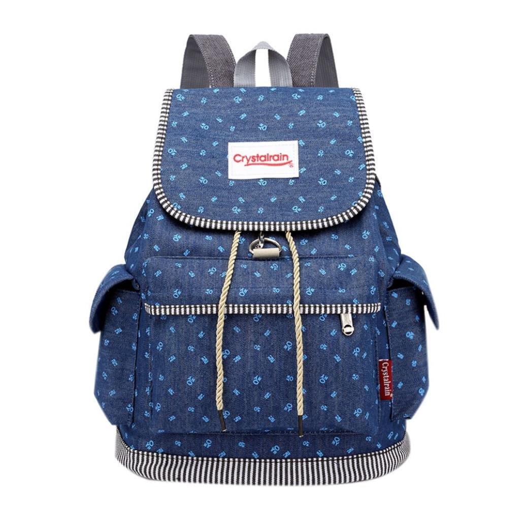 Sunshinehomely Women Girls Denim Drawstring Backpack Leisure Student Schoolbag Large Capacity Double Shoulder Travel Bag