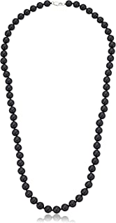 iJewelry2 Genuine Hematite Pave Bead & Onyx 10mm Balls Hip Hop Men Unisex Long Necklace 27