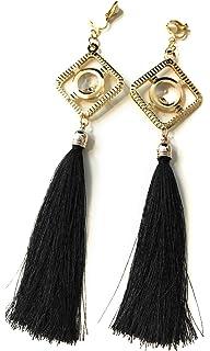 Long Funky Navy Blue Tassel Chandelier Dangle Party Earrings