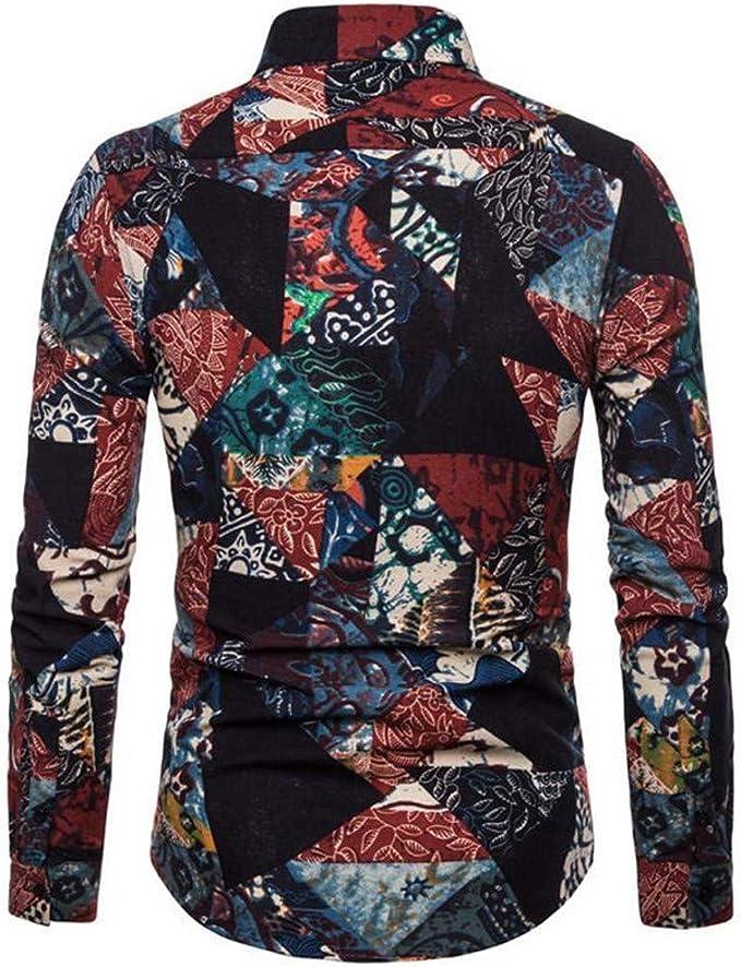CAOQAO Camisas Hombre Manga Corta Camisa Hawaiana Hombre Causual Algodón Estilo Nacional: Amazon.es: Ropa y accesorios