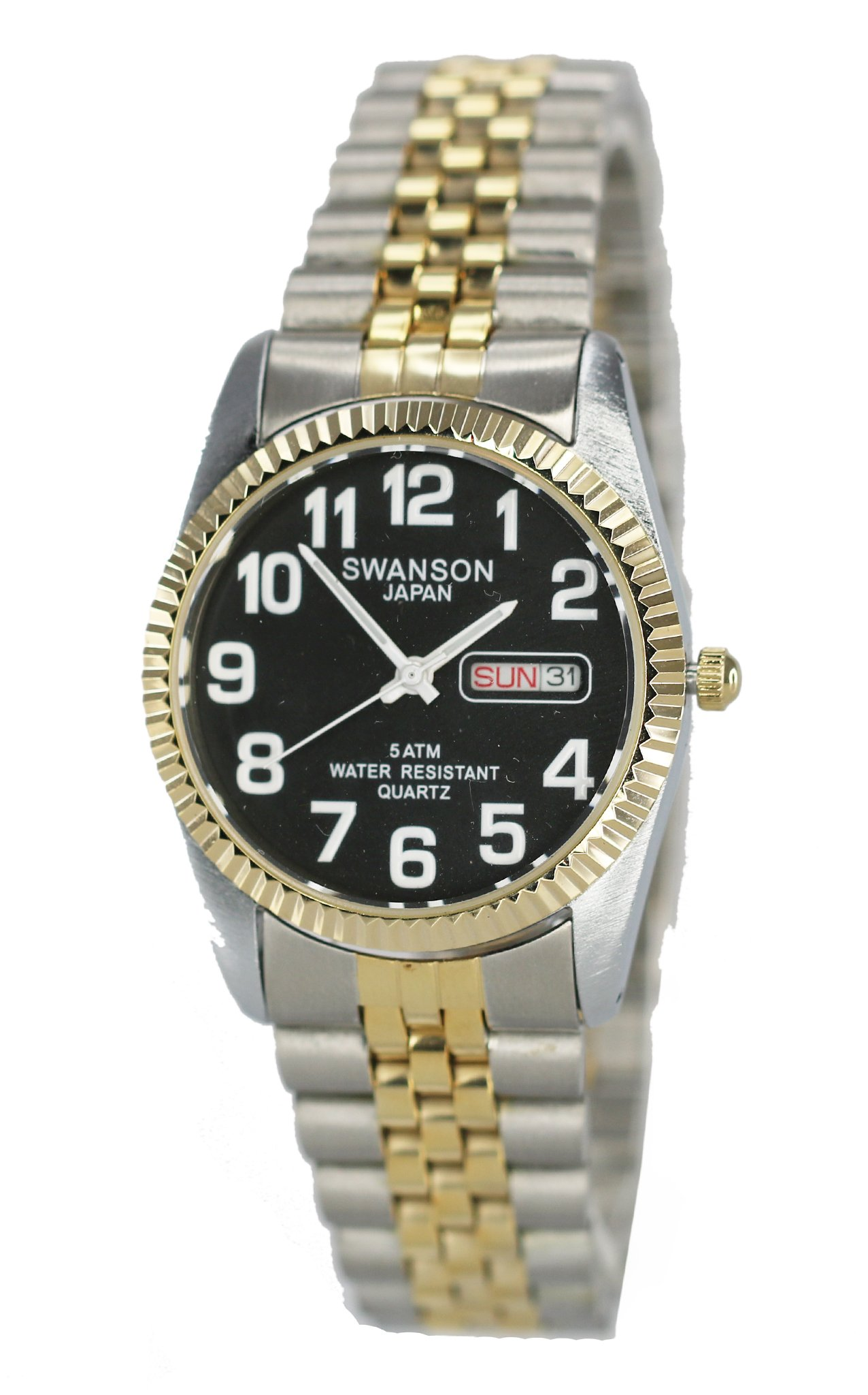 Swanson Men's Stainless Steel Day-Date Watch Black Dial with Large White Numbers with Travel Case