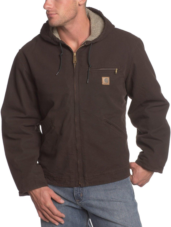 Carhartt Men's Big & Tall Sherpa Lined Sandstone Sierra Jacket J141,Dark Brown,XXXX-Large Tall by Carhartt