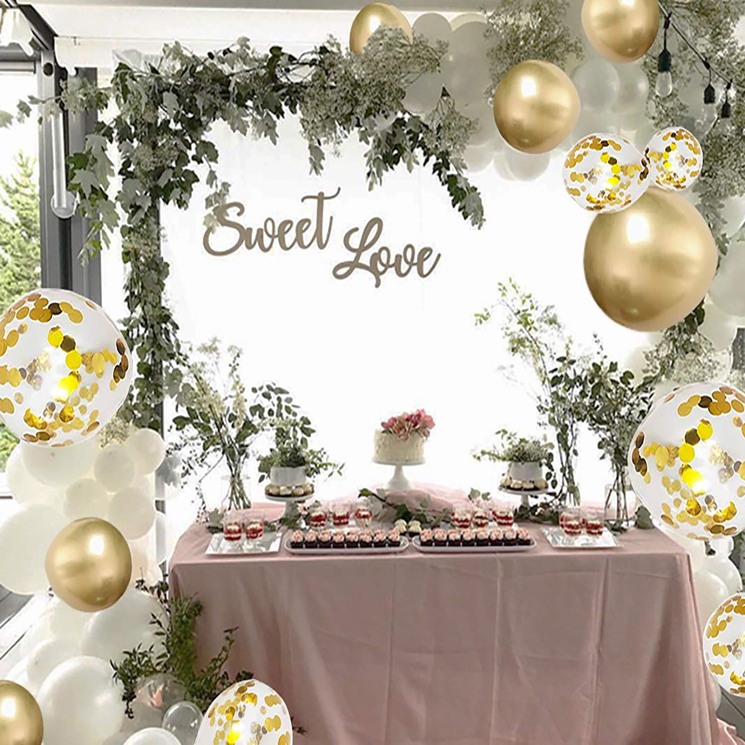 Balloon Arch Kit, Balloon Garland kit - 12 Inch Balloons 50 Pcs Pack-White, Gold, Golden Confettii Balloons with Ribbon and Balloon Tape Strips, for More Parties