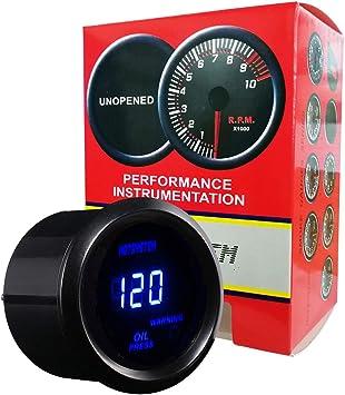 Sensor Oil Pressure Gauge Auto Car Motor 52mm 120PSI Blue LED Meter 0~120PSI