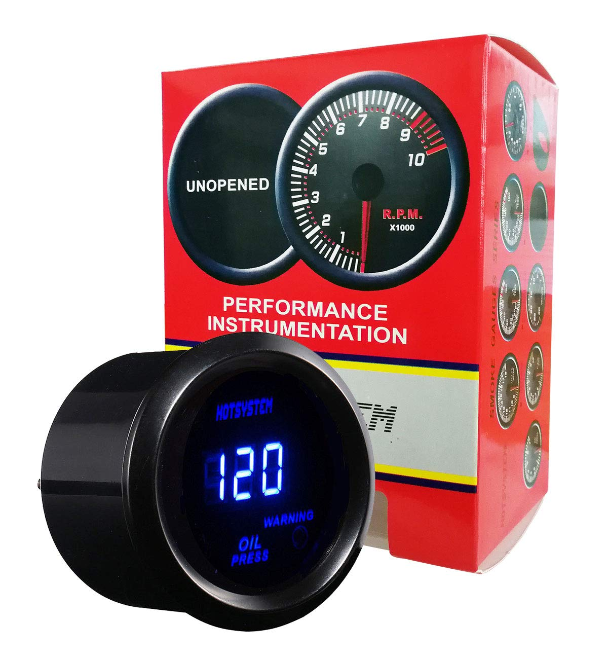 HOTSYSTEM Electronic Universal OIL Pressure Press Gauge Meter Blue Digital LED 2inches 52mm 0-120 PSI for Car Vehicle Automotive