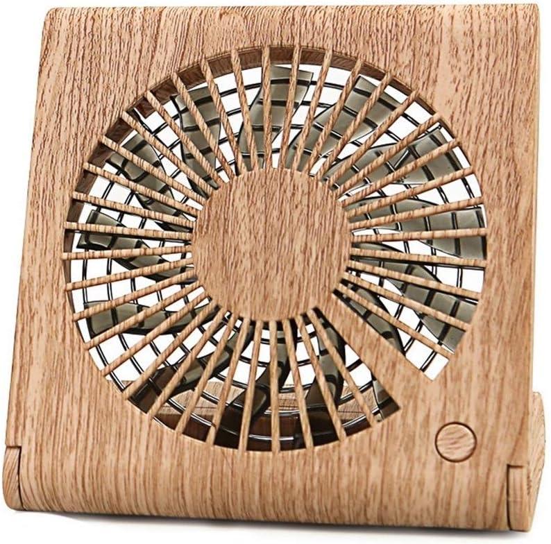 Air Cooling Fan Foldable Handheld Fan Personal Desktop Mini Fan USB Air Cooler Room Creative Wood Fan Color : 01