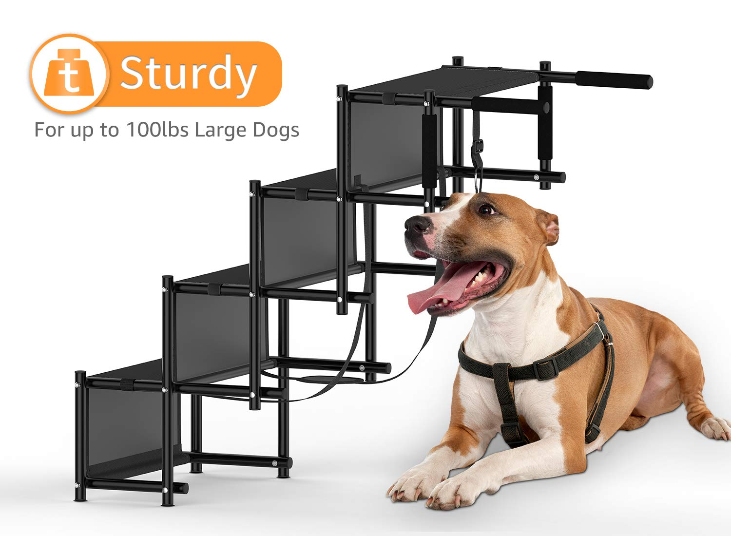 Dog Car Step Stairs Foldable SUKI&SAMI Metal Frame Folding Dog Ramp for Car,Lightweight Portable Large Dog Ladder,for Dogs and Cats,SUVs and Trucks,Couch and Bed,Protect Pets' Joint and Knee by SUKI&SAMI (Image #4)