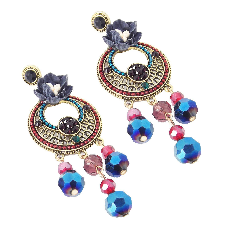 9blings Designer Navy Chandbali Crystal Long Dangle Earring
