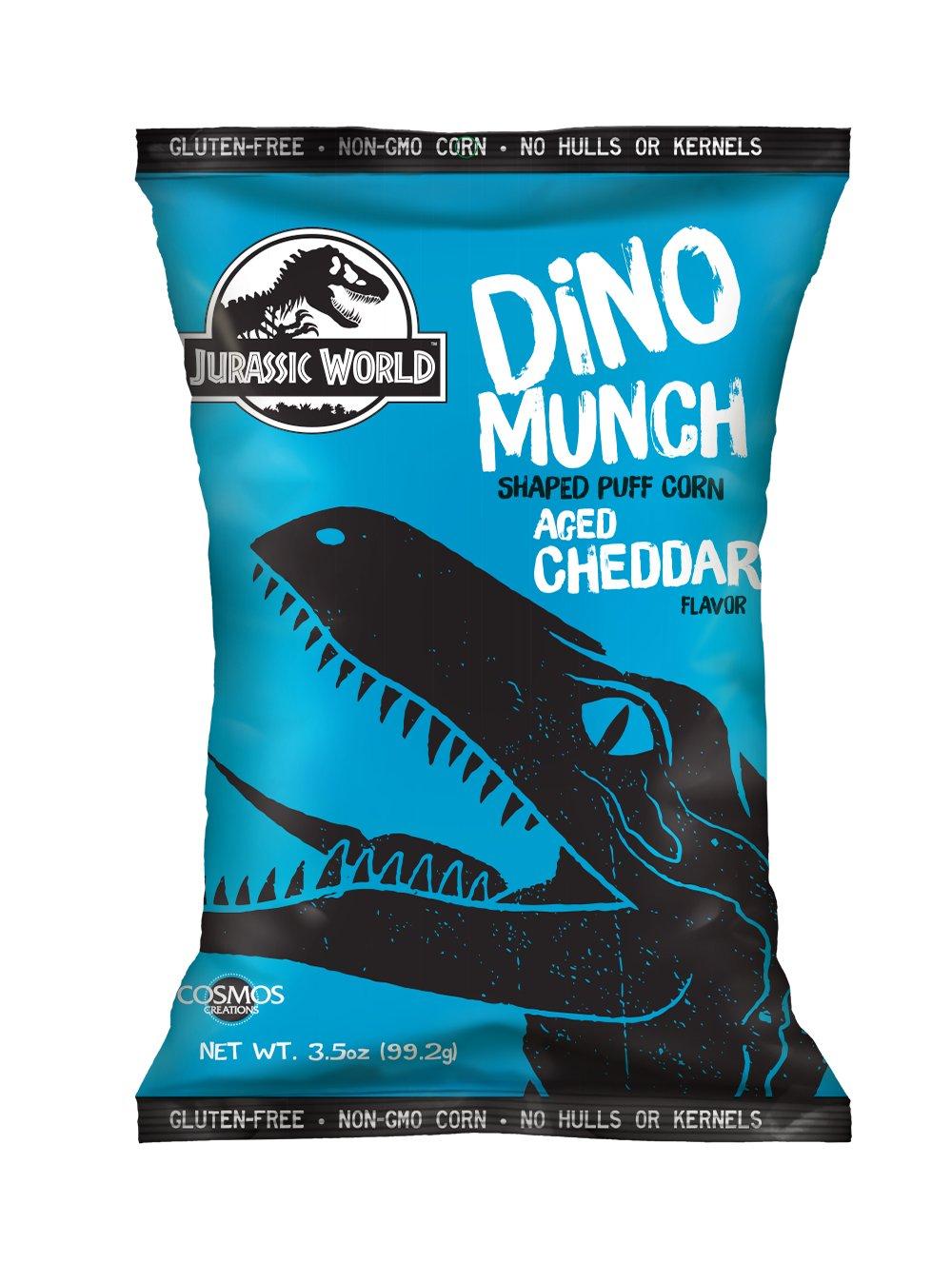 Jurassic World Dino Munch Aged Cheddar Dino Shaped Puff Corn 3.5 oz, Case of 8