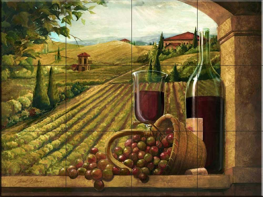 Ceramic Tile Mural - Vineyard Window I- by Janet Stever - Kitchen backsplash / Bathroom shower
