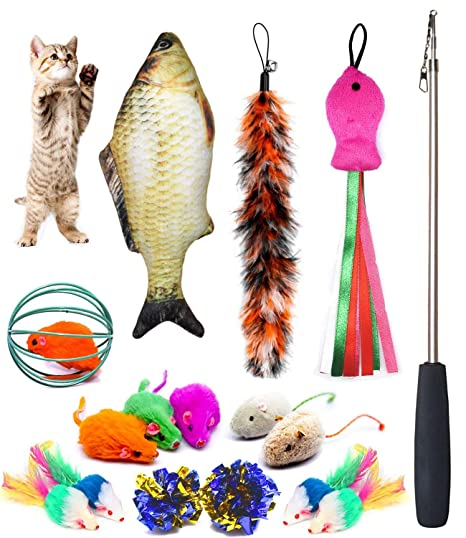Xelparuc Juego de 11 Juguetes para Gatos, Incluye Varita retráctil para Gatos, Juguete para