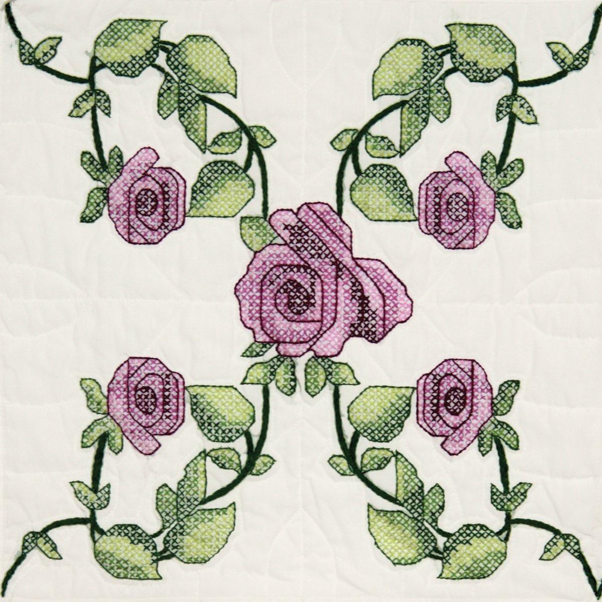 Fairway 95605 Quilt Blocks, Rose Vine Design, White, 6 Blocks Per Set