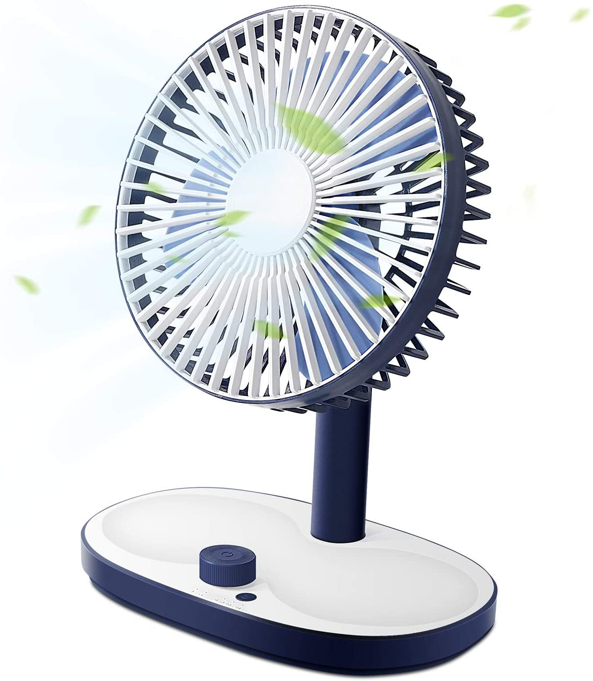 SmartDevil Desktop Fan, Personal Desk Fan With Storage Function, Built-in 2600 mAh Rechargeable Battery, Smart Timing Function, Stepless Speed Regulation, Small Fan For Home, Office, Bedroom,Blue