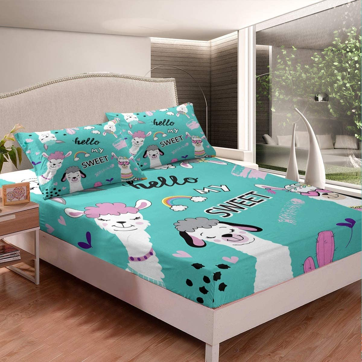 Feelyou Llama Alpaca Fitted Sheet Cute Llama Bedding Set Cartoon Llama Alpaca Design Bed Sheet Set for Boys Girls Children Teens Animal Theme Bed Cover Bedroom Decor Queen Size with 2 Pillow Case