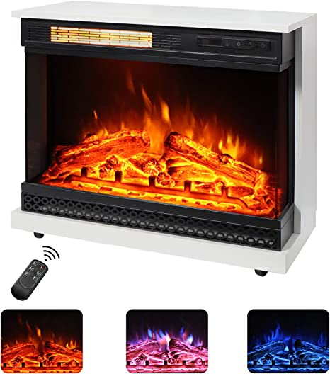 Maxhonor 26 Inch Freestanding Electric Fireplace Stove Space Heater With 3d Realistic Flame Faux Logs Wood Mantel Remote Control 750w 1500w Ivory White Home Kitchen