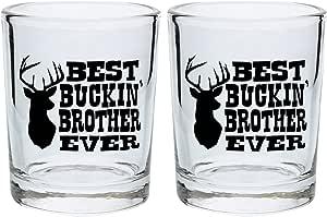 Funny Shot Glasses Best Buckin' Brother Ever Graduation Gift for Brother Gag Gift Shot Glasses 2-Pack Round Shot Glass Set Black