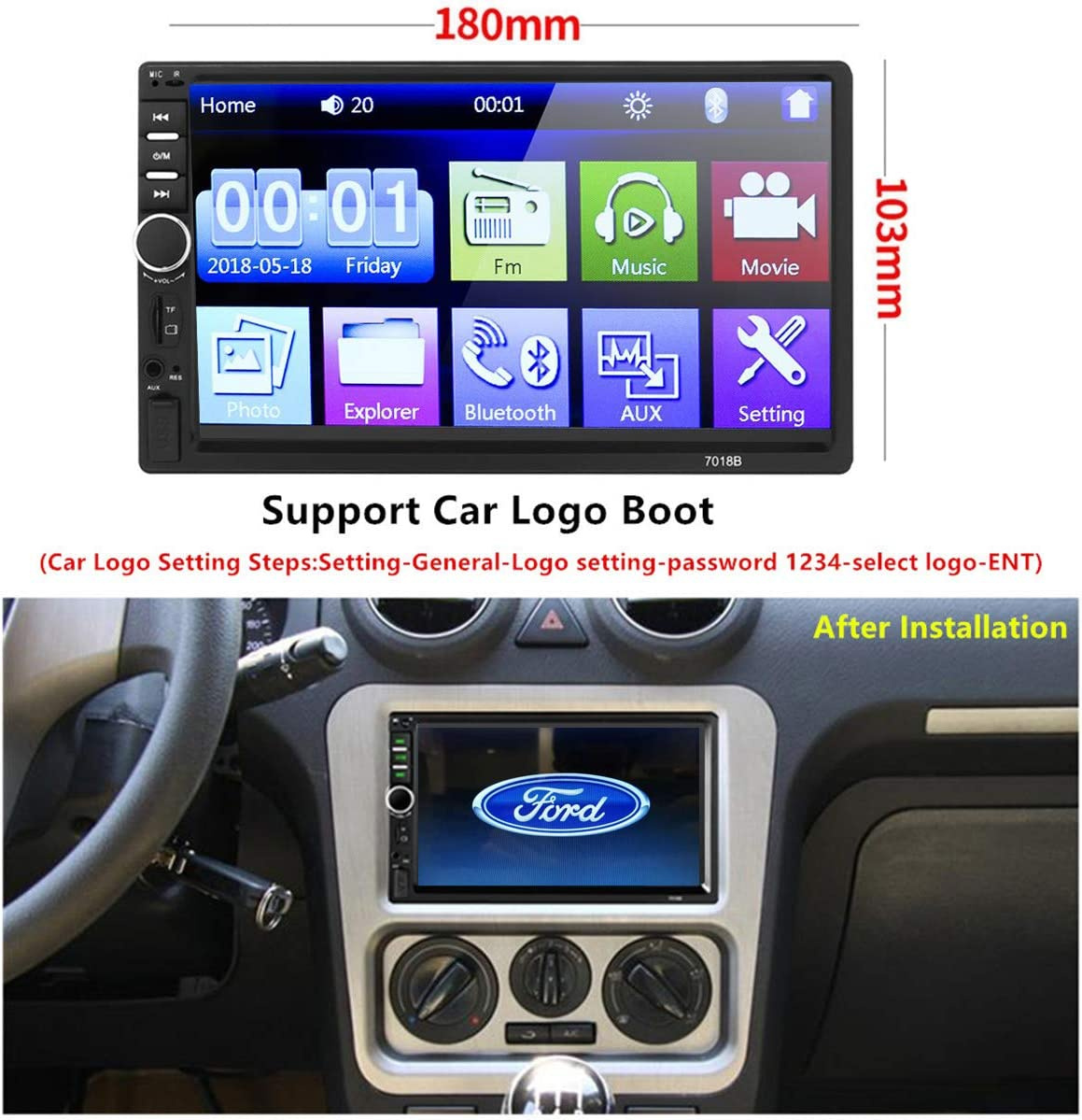 Car Stereo 2 Din,7 inch Touch Screen MP5 //MP4//MP3 Multimedia Player,Bluetooth Audio,Car Stereo Receivers,FM Radio,USB//SD//AUX Input,Mirror Link,Support Steering Wheel Remote Control,Rear View Camera