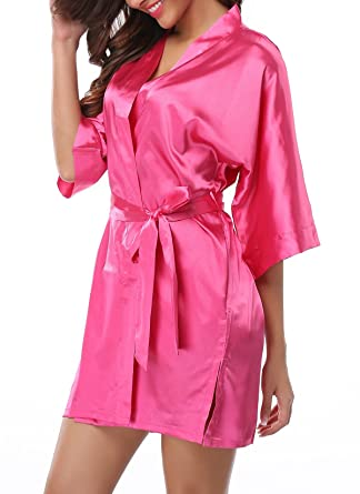 FADSHOW Women s Summer Kimono Robes Satin Bathrobes for Wedding Party at  Amazon Women s Clothing store  f73c8d9ed