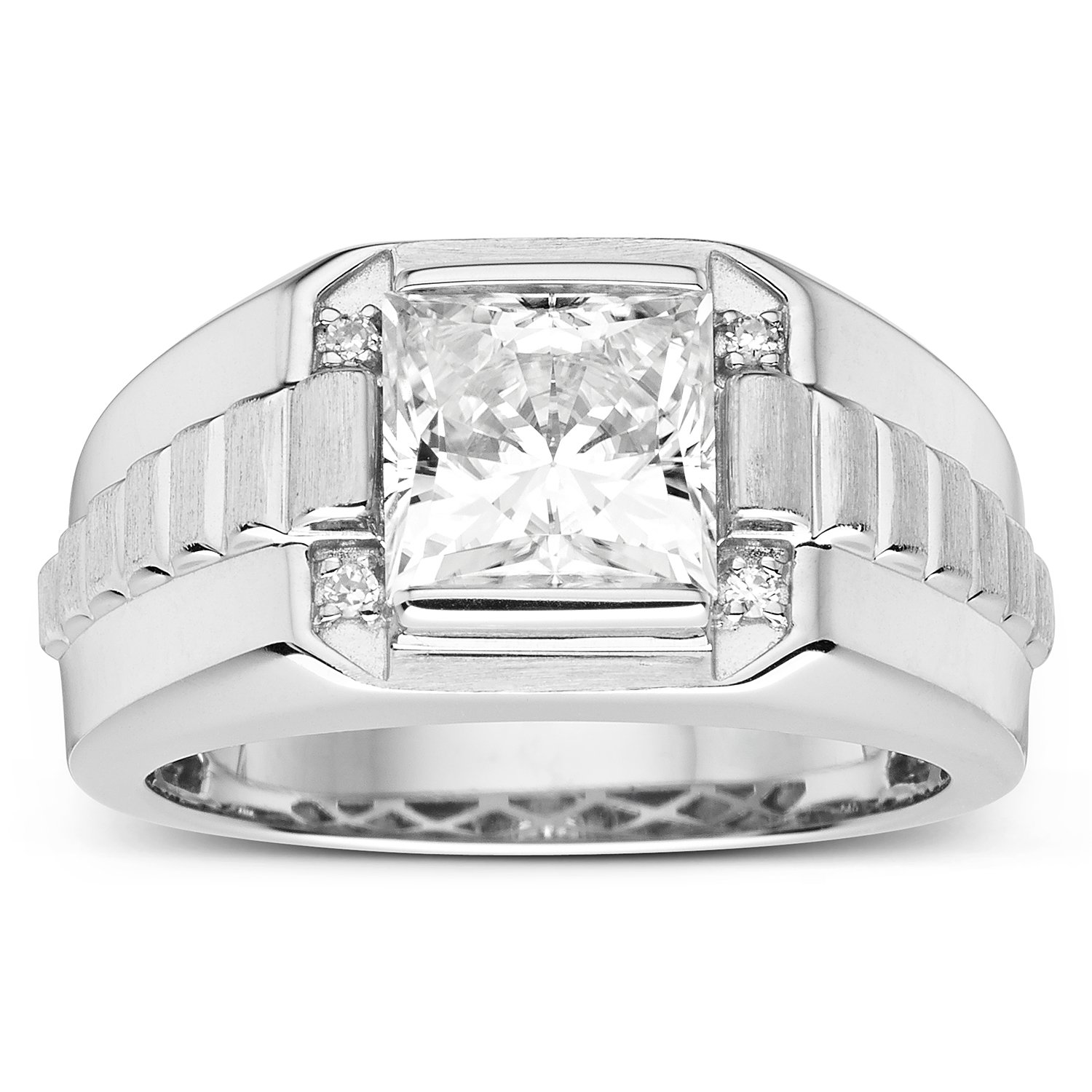Forever Classic Mens Square 8.0mm Moissanite Wedding Band-size 10, 3.14cttw DEW By Charles & Colvard by Charles & Colvard