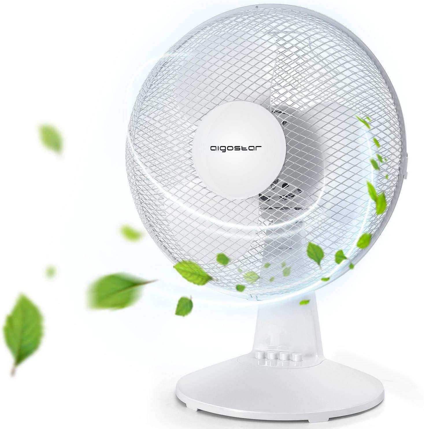 Aigostar Allace 33JTO - Ventilador de mesa con 3 velocidades, Ventilador sobremesa 43,5cm, oscilación silencioso de 80 grados, potencia 40 W, color blanco. Diseño exclusivo.