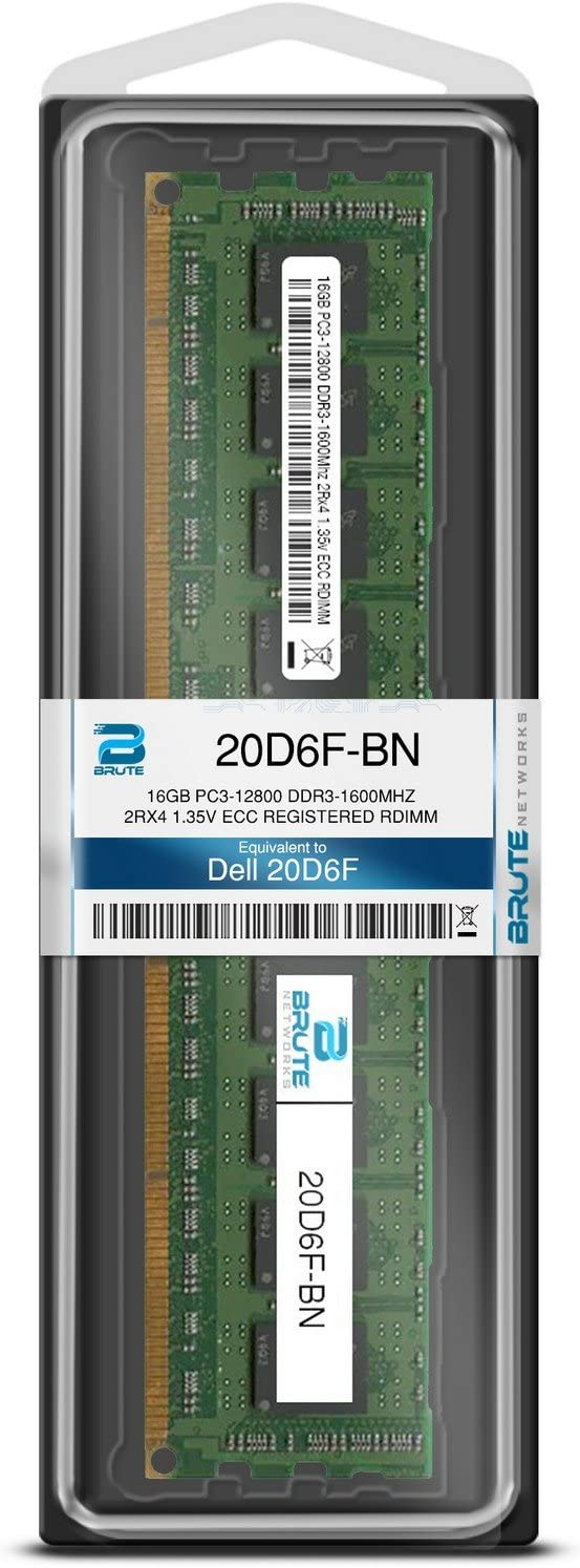 Brute Networks 20D6F-BN 16GB PC3-12800 DDR3-1600Mhz 2Rx4 1.35v ECC Registered RDIMM Equivalent to OEM PN # 20D6F