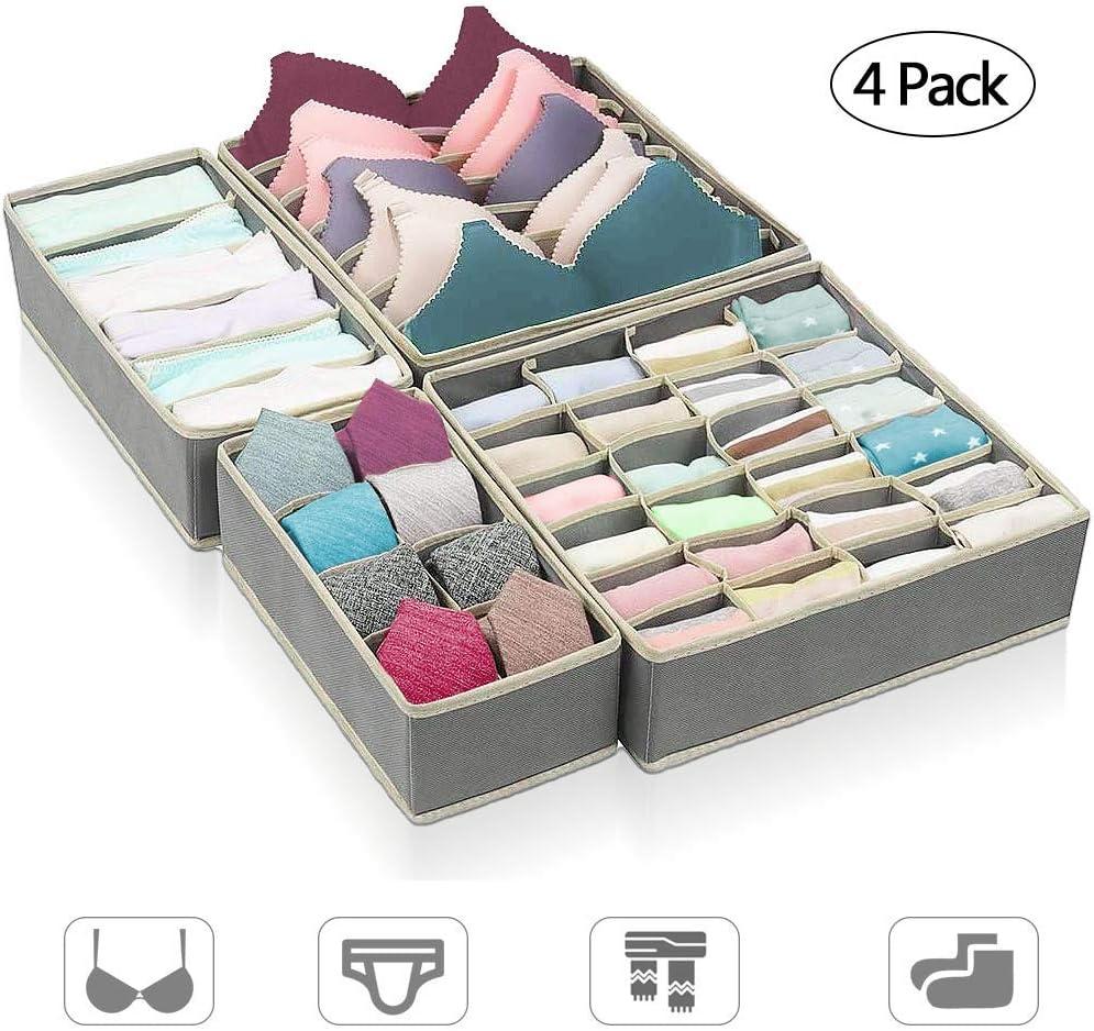 organizador calcetines y corbatas ASANMU organizador para cajones Caja de almacenaje para ropa interior sujetador plegable organizador para cajones caja de tela plegable para sujetadores