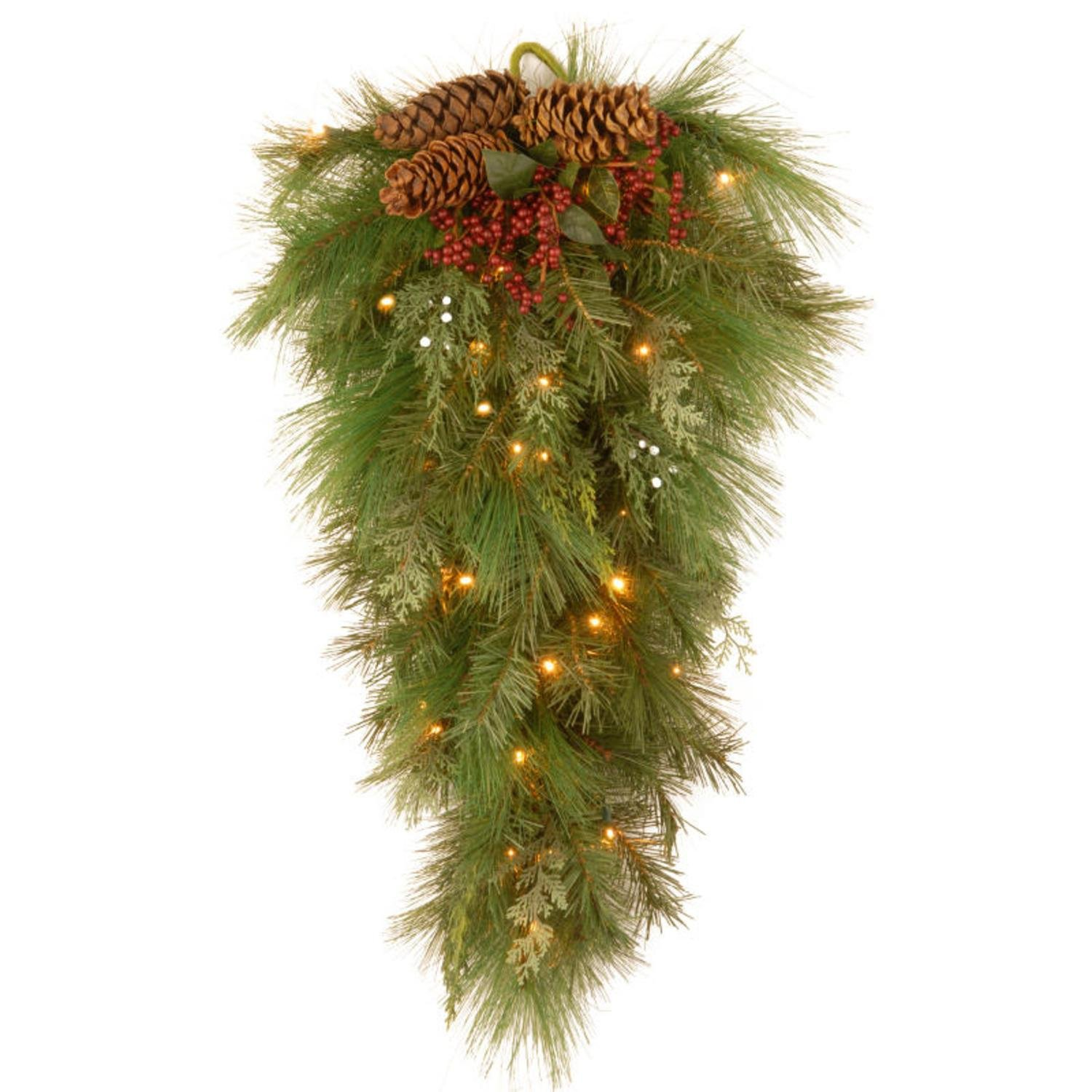 National Tree Company 28'' Pre-lit Battery-Operated White Pine Artificial Christmas Teardrop Swag - Warm Clear LED Lights