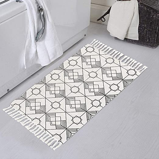 Amazon Com Boho Off White Rug Geometric Woven Bathroom Rug 1 6 X2 6 With Tassels Small Bohemian Bath Mat Kitchen Dining