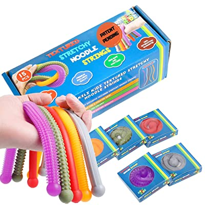 Durable TEXTURED (Patent Pending) Stretchy String Fidget and Sensory Toy - 15 Packs of Individually Packaged Monkey Noodles - Fun and Therapeutic Stress and Anxiety Reliever for Kids: Toys & Games