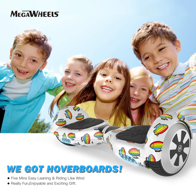 M MEGAWHEELS Scooter-Patinete Eléctrico Hoverboard, 6.5 Pulgadas con Bluetooth - Motor eléctrico 500w, Velocidad 10-12 Km/h. (Spacehip)