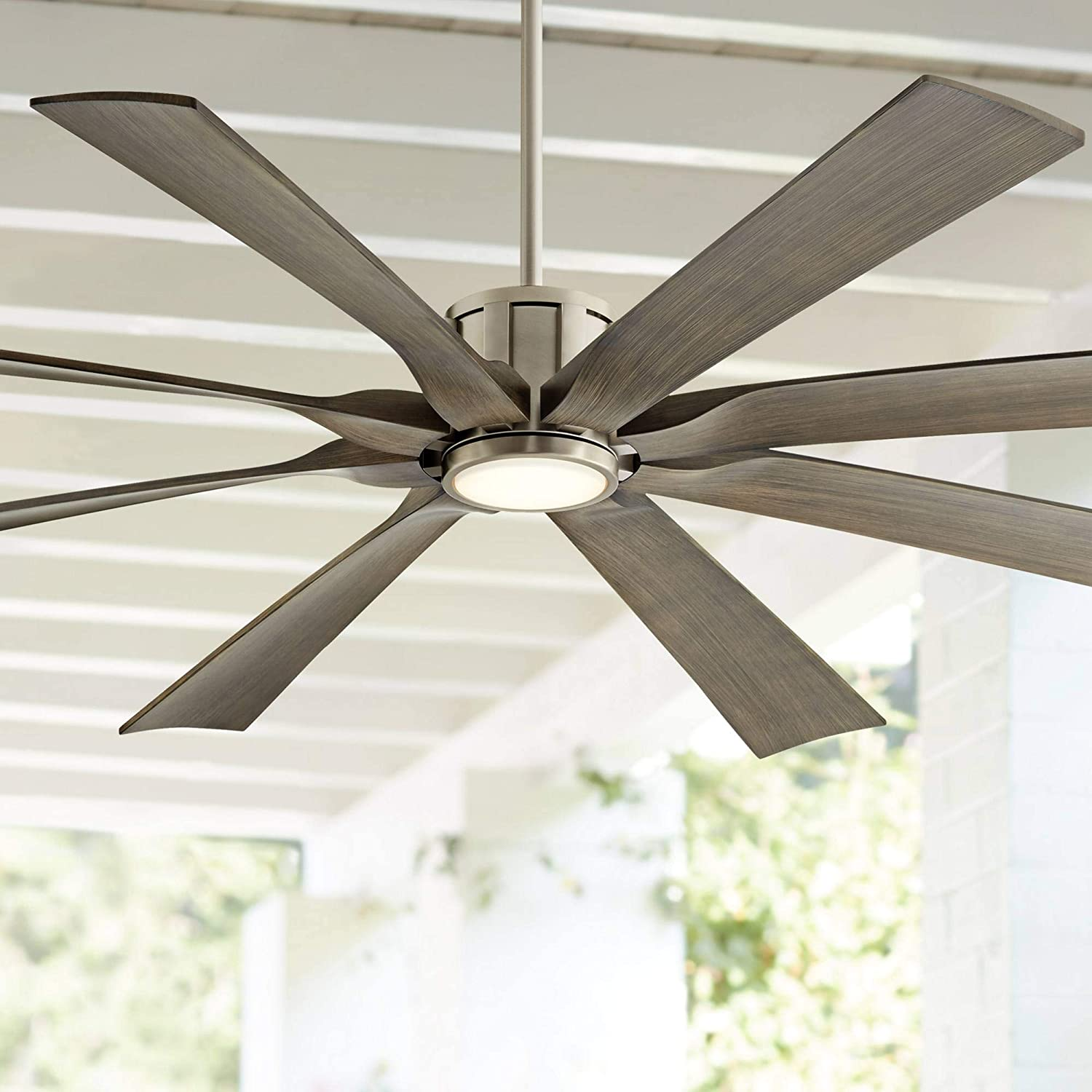 70 The Defender Modern Outdoor Ceiling Fan with Light LED Dimmable Remote Control Brushed Nickel Light Wood Blades Damp Rated for Patio Porch – Possini Euro Design