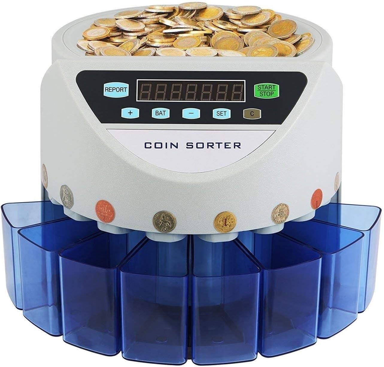 CHUXJ Contador eléctrico de la moneda, y clasificador de monedas de la máquina de gran capacidad con el conteo de LED de visualización, la moneda Tubos, compatible con Japón Macao Colombia y clasifica
