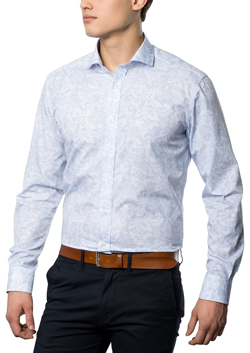 ETERNA Men's MODERN FIT long sleeve shirt light blue patterned